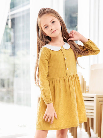 Toddler Girls Solid Babydoll Dress - QAS KIDS TORE