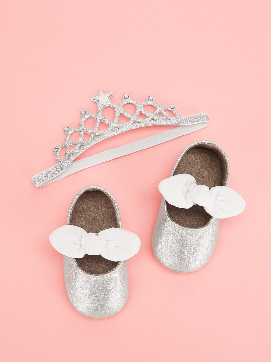 Baby Bow Tie Decor Flats - QAS KIDS TORE