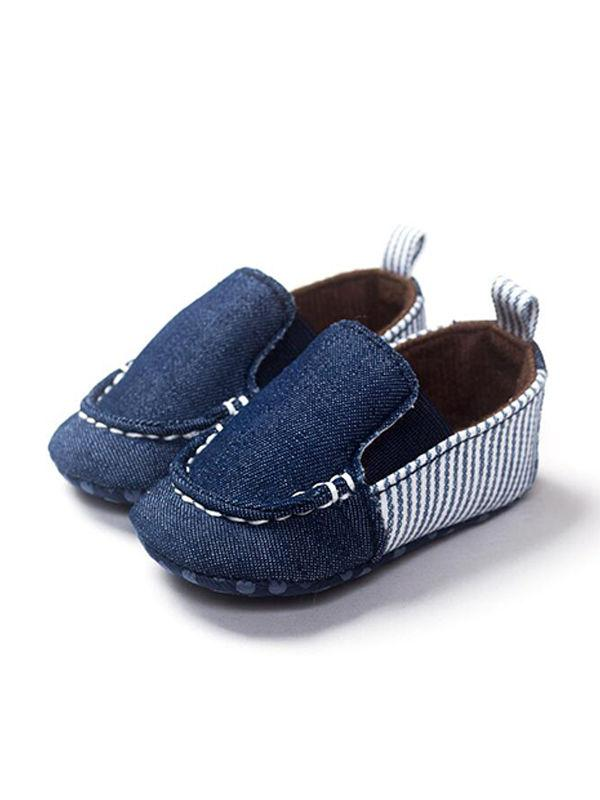 Stripes Cotton Canvas Crib Shoes Skidproof Breathable Pre-walking For Baby Girls Boys - QAS KIDS TORE