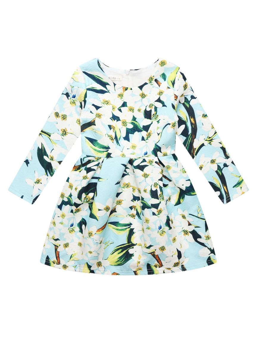 Lily Flower Print Big Girl One-Piece Dress - QAS KIDS TORE