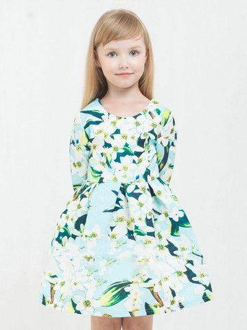 Lily Flower Print Big Girl One-Piece Dress - QAS KID  STORE