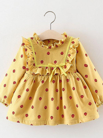 Strawberry Ruffled Fleece-lined Baby Girl Dress - QAS KIDS TORE