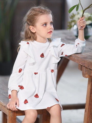 Strawberry Flutter Sleeve Toddler School Girl - QAS KID  STORE