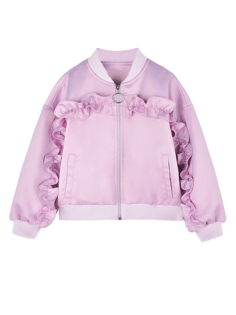 Spring Little Big Girl Purple Ruffled Causal Jacket Coat - QAS KIDS TORE