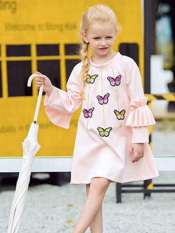 Stylish Little Big Girl Flutter Sleeve Butterfly Casual - QAS KIDS TORE