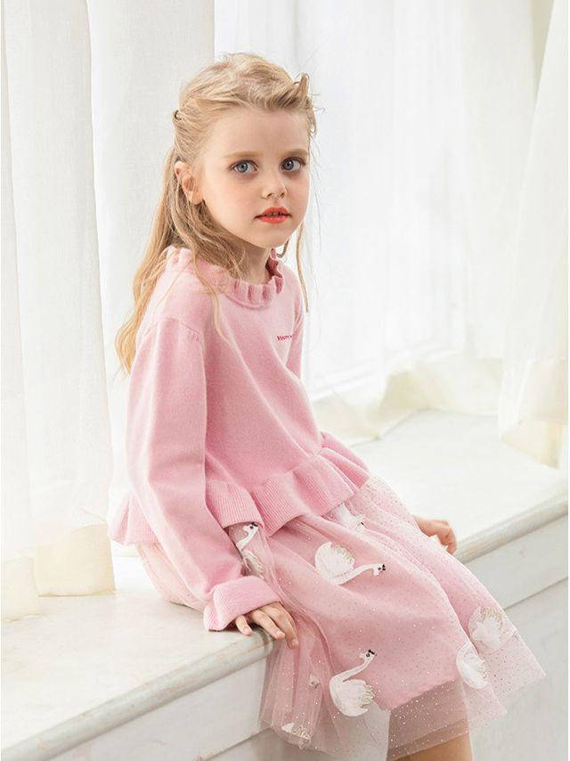 Loose Fitting Pineapple/Swan Toddler Big Girl Tulle Patchwork Ruffled Collar Casual Princess Dress - QAS KID  STORE