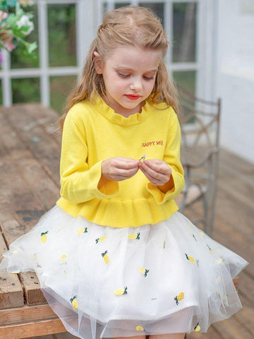 Loose Fitting Pineapple/Swan Toddler Big Girl Tulle Patchwork Ruffled Collar Casual Princess Dress - QAS KIDS TORE