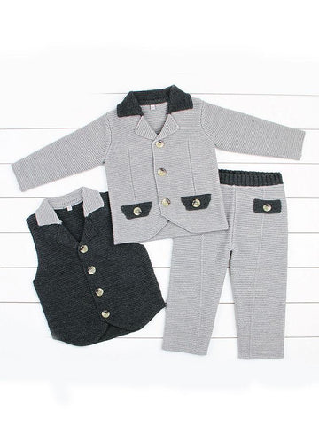 3-Piece Stylish Toddler Boys Suit Crochet Waistcoat+Suit Jacket+Pants - QAS KID  STORE