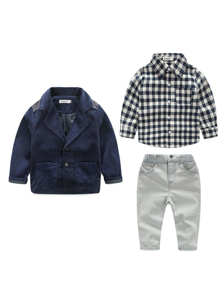 3-piece Spring Toddler Big Boys Casual Suits Outfits Set Checked Shirt+Corduroy Suit Jacket+Jeans - QAS KIDS TORE