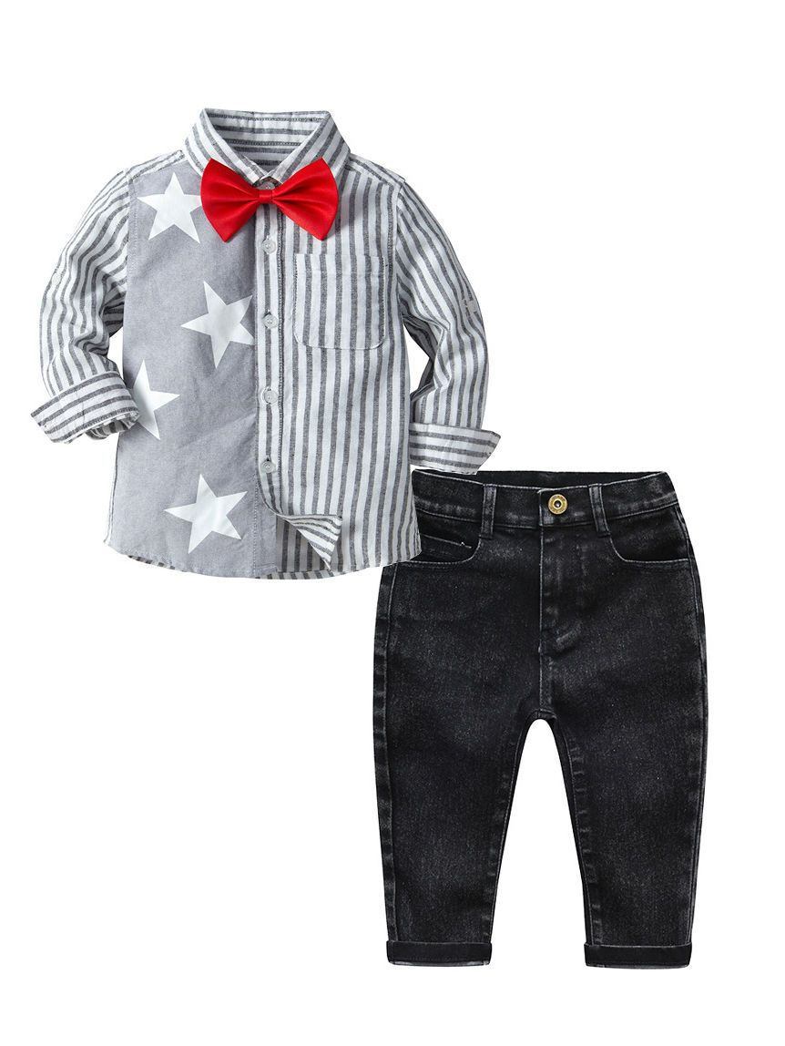 3-Piece Spring Toddler Big Boys Star Striped Print Long-sleeved Shirt with Bow Tie+Black Jeans Set - QAS KIDS TORE
