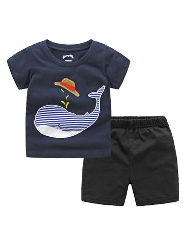 2-piece Toddler Big Boy Dolphin Outfits T-shirt+Shorts - QAS KID  STORE