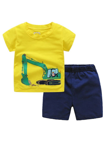 2-piece Toddler Big Boy Excavator Applique Outfits Yellow T-shirt+Shorts - QAS KIDS TORE