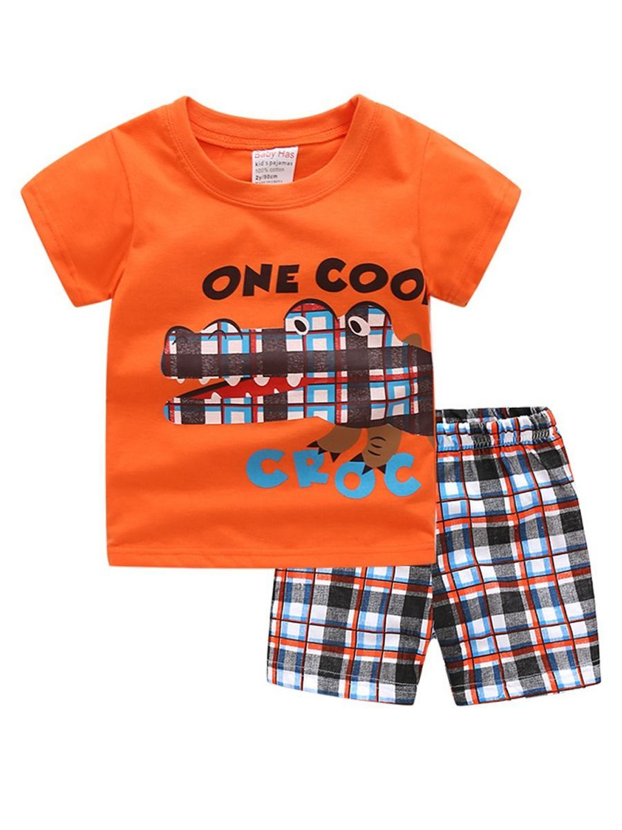 2-Piece Croc Pattern Toddler Big Boy Outfits T-shirt+Checked Shorts - QAS KIDS TORE