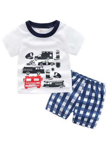 2-Piece Toddler Big Boy Car Print T-shirt+Plaid Shorts - QAS KID  STORE