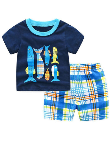 2-Piece Little Big Children Homewear Outfits Fish T-shirt - QAS KIDS TORE
