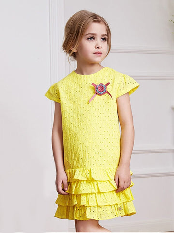 Toddler Little Girl Flower Layered Yellow Dress - QAS KIDS TORE