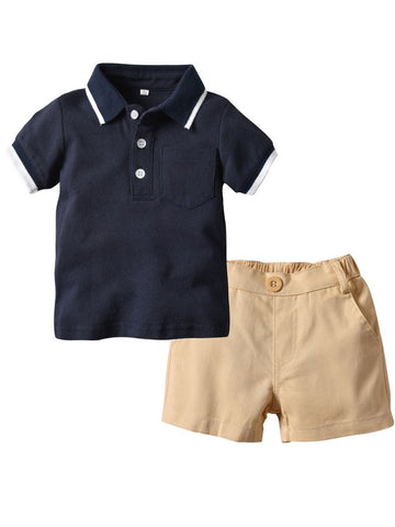 2-Piece Summer Baby Little Boys Clothes Outfit Polo T-shirt - QAS KIDS TORE