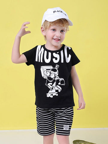 2-Piece MUSIC Cartoon Baby Toddler Boy Clothes Outfit T-shirt - QAS KID  STORE