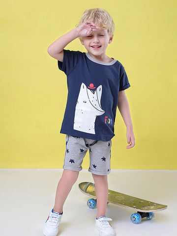2-Piece Baby Little Boy Summer Outfit Cartoon Fox T-shirt Matching Pull-on Shorts - QAS KIDS TORE