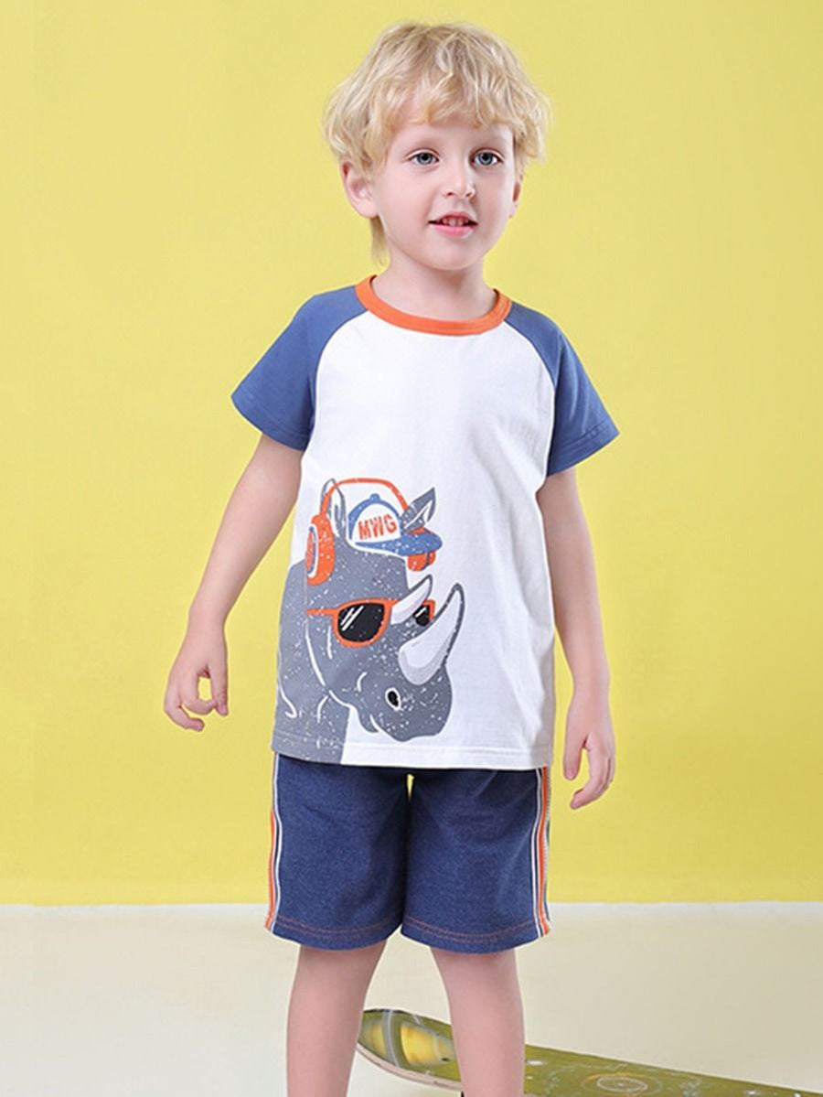 2-Piece Baby Toddler Boy Clothes Outfit Cartoon Animal T-shirt Matching Shorts - QAS KID  STORE