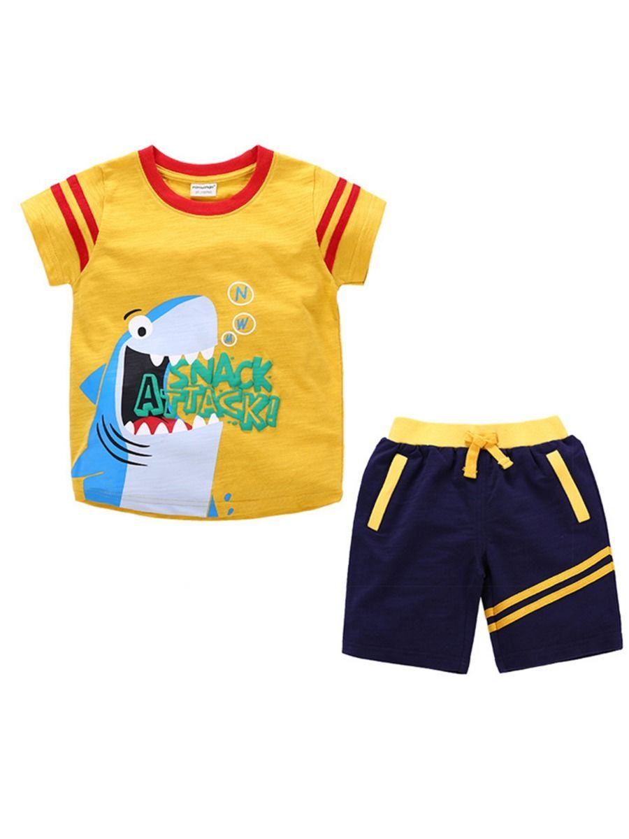 2-Piece Baby Toddler Boy Clothing Outfit Shark Yellow T-shirt - QAS KIDS TORE