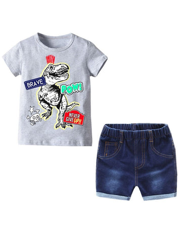 2-Piece Summer Infant Toddler Boy Outfit Dinosaur Striped T-shirt - QAS KIDS TORE