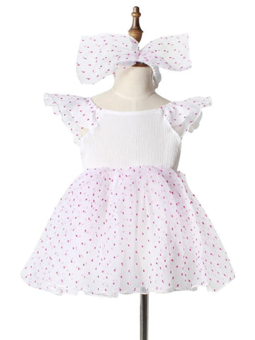 Baby Toddler Girl Flutter Sleeve Dress - QAS KIDS TORE
