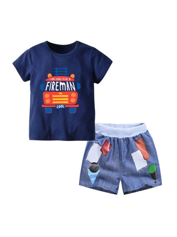 2-Piece Summer Toddler Big Boy Clothes Outfit FIREMAN T-shirt Matching Shorts - QAS KIDS TORE