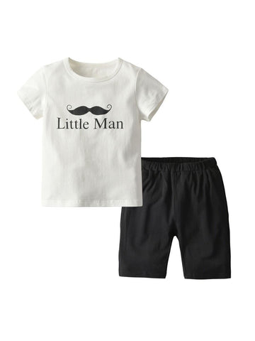 2-Piece Little Big Kids Summer Outfit Little Man Mustache White T-shirt - QAS KIDS TORE