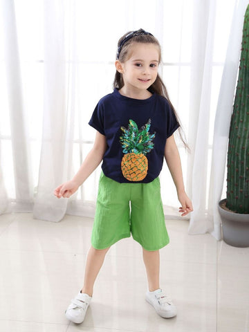 2-Piece Little Big Girl Pineapple Pattern Outfit Sequins Pineapple T-shirt - QAS KIDS TORE
