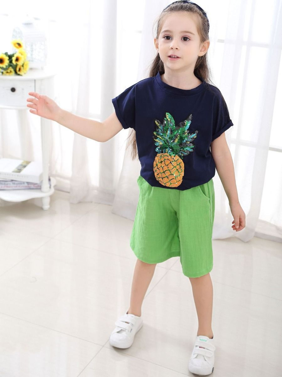 2-Piece Little Big Girl Pineapple Pattern Outfit Sequins Pineapple T-shirt - QAS KID  STORE
