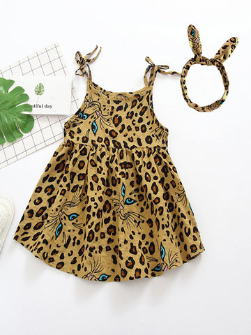 Toddler Girls Leopard Print Slip Dress With Headband - QAS KIDS TORE