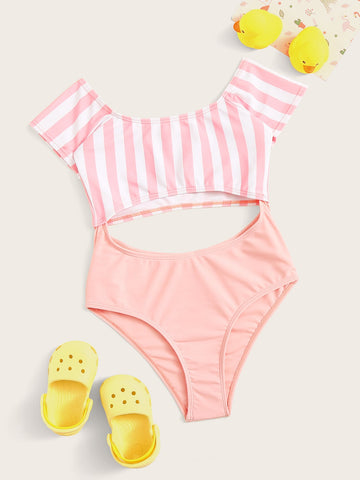 Girls Short Sleeve Cut-out One Piece Swimsuit - QAS KIDS TORE