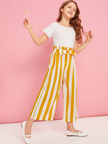 Girls Paperbag Waist Bow Detail Striped Pants - QAS KIDS TORE