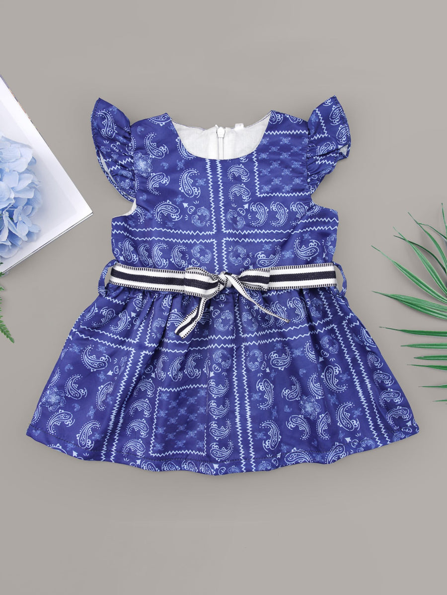 Baby Girl Paisley Belted Dress - QAS KIDS TORE