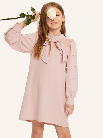 Girls Mesh Insert Pompom Detail Dress - QAS KIDS TORE