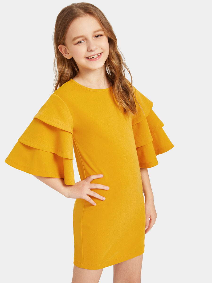 Girls Layered Bell Sleeve Solid Dress - QAS KIDS TORE
