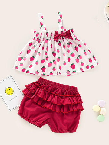 Baby Strawberry Print Cami Top With Frill Shorts - QAS KIDS TORE