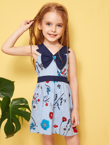Toddler Girls Striped Floral Print Bow A-line Dress - QAS KIDS TORE