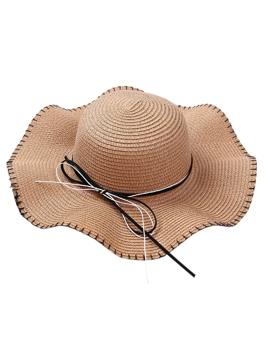 Girls Bow Tie Band Straw Hat - QAS KIDS TORE
