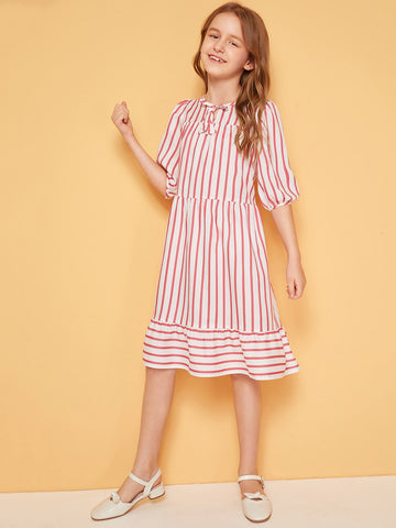 Girls Tie Neck Flounce Hem Striped Dress - QAS KID  STORE