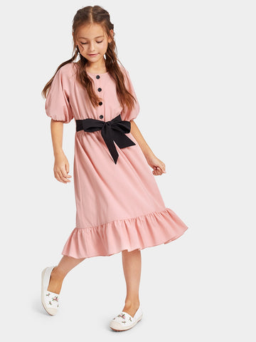 Girls Waist Knot Ruffle Hem Button Dress - QAS KID  STORE