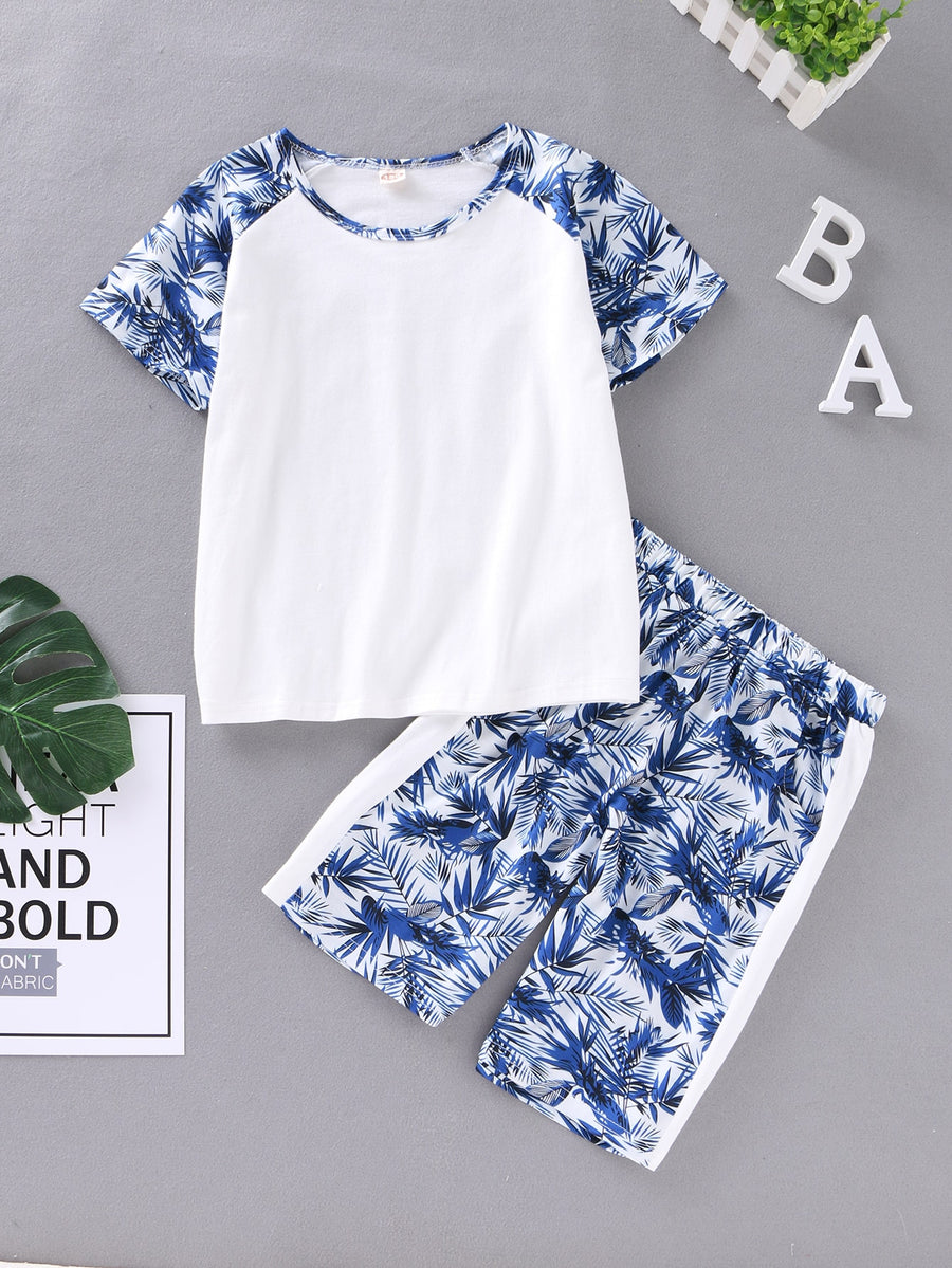 Boys Contrast Tropical Raglan Sleeve Tee & Shorts - QAS KIDS TORE