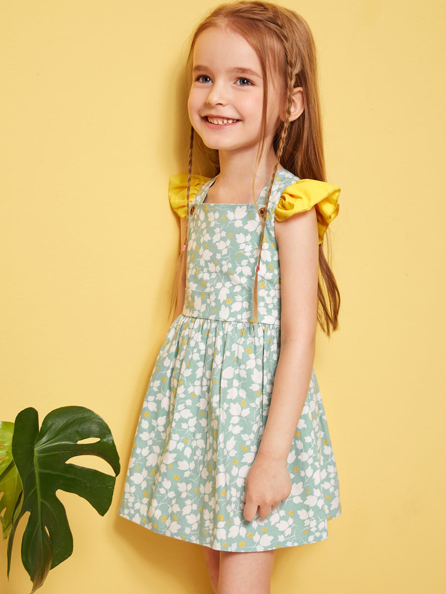 Toddler Girls Ditsy Floral Ruffle Criss-cross Pinafore Dress - QAS KIDS TORE