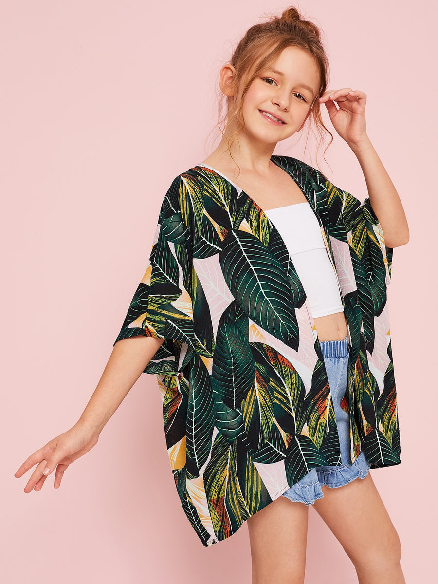 Girls Open Front Jungle Leaf Print Kimono - QAS KIDS TORE