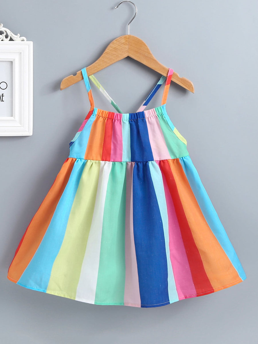 Toddler Girls Rainbow Stripe Cami Dress - QAS KIDS TORE