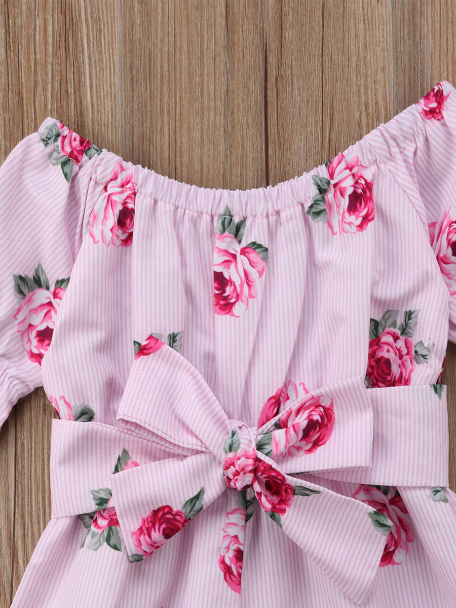Toddler Girls Floral Print Belted Romper - QAS KIDS TORE