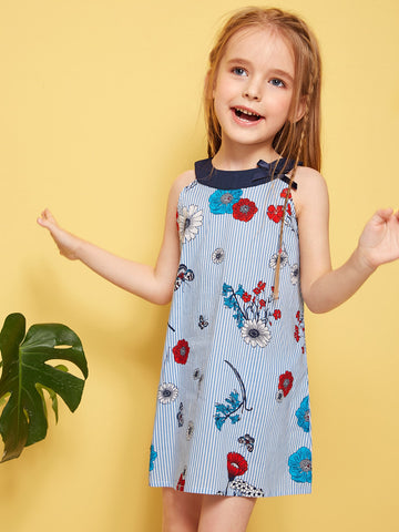 Toddler Girls Striped Floral Print Halter Dress - QAS KIDS TORE