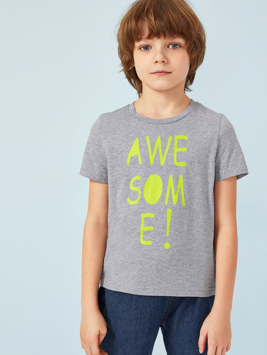 Boys Letter Print Heather Grey Tee - QAS KIDS TORE