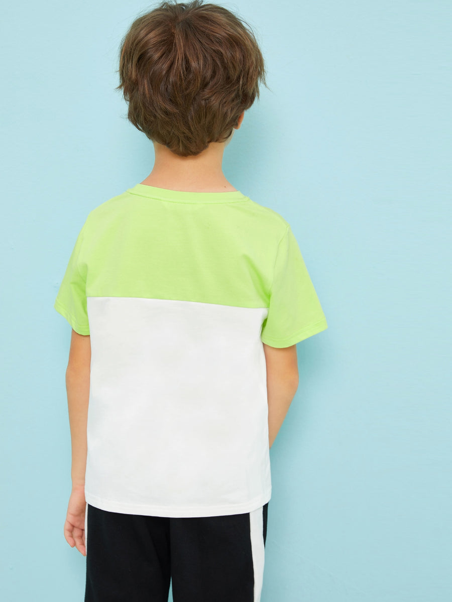 Boys Neon Lime Panel Two Tone Letter Print Tee - QAS KIDS TORE